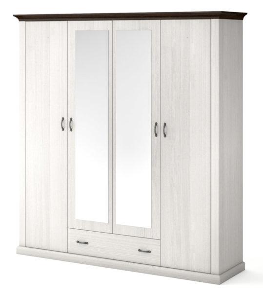 Четирикрилен гардероб с чекмедже и огледало LAVENDA 4D1S