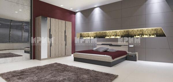 Спален комплект City 7012 с LED осветление в гардероба и повдигащ механизъм