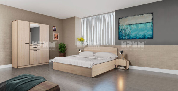 Спален комплект City 7039 с включен матрак, LED осветление в гардероба и повдигащ механизъм