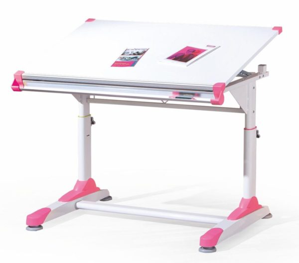Детско бюро с повдигащ се плот и регулиране на височината Collorido pink