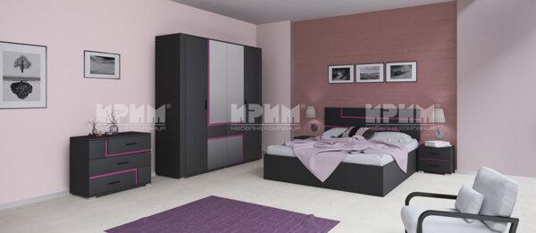 Спален комплект City 7006 с включен матрак, скрин, LED осветление в гардероба и повдигащ механизъм