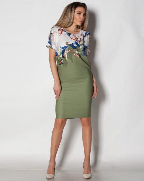 Alvina - дамска рокля във V силует с реглан ръкав в зелено (второ качество)