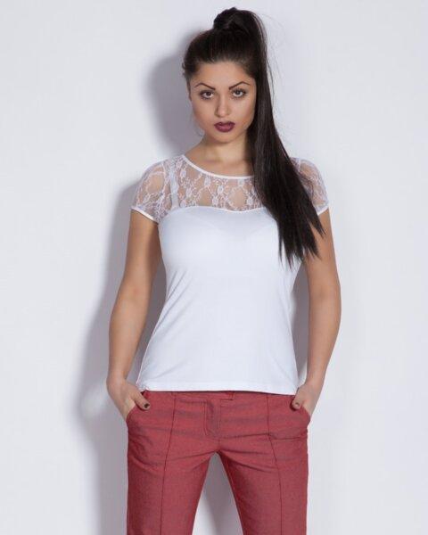 Дамска блуза с дантела в бяло (второ качество)