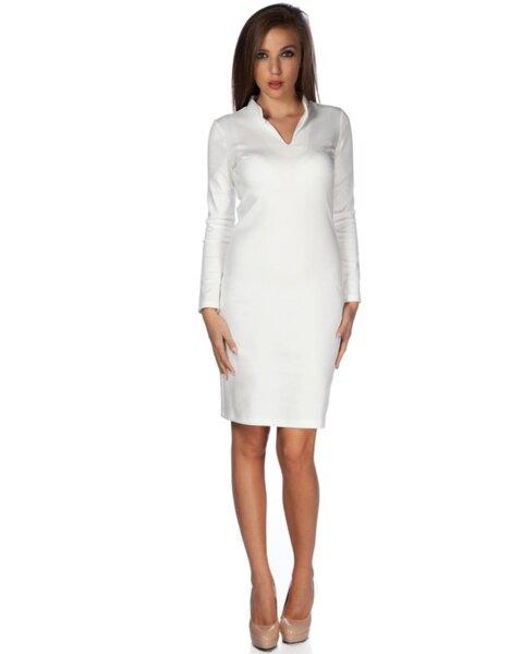 Бяла дамска рокля със столче яка (второ качество)