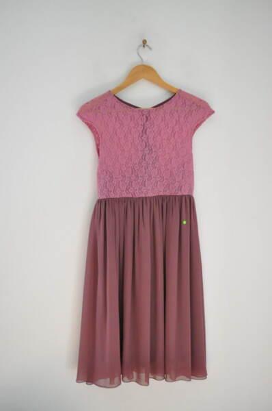 Дамска рокля с дантела в цвят пепел от рози (второ качество)