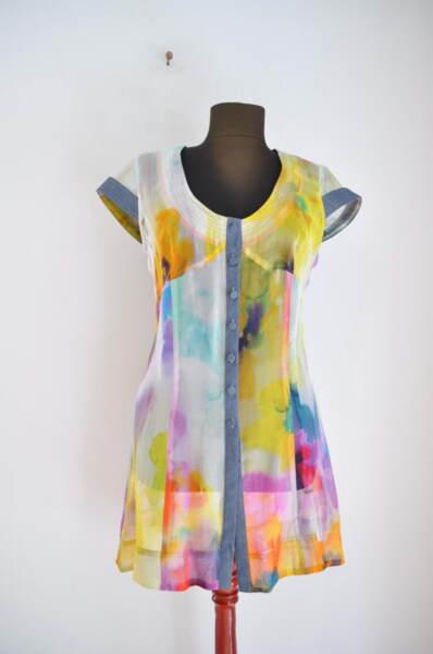 Дълга дамска риза с къс ръкав (второ качество)