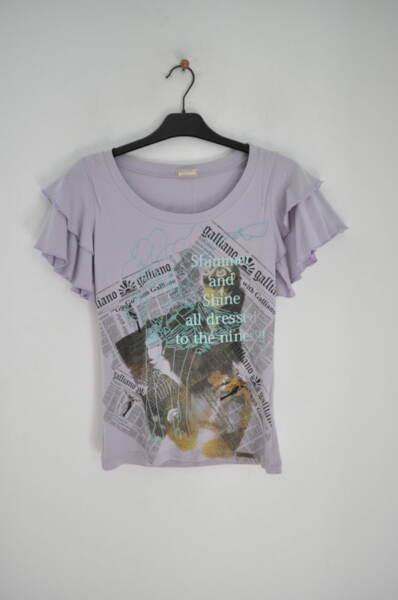 Лилава дамска тениска с ефектни ръкави