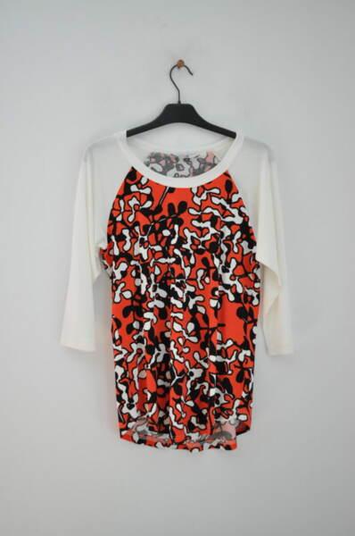 Дамска блуза тип пижама с оранжева шарка