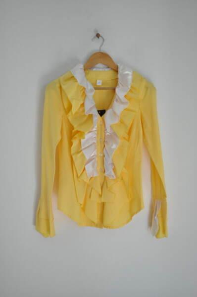 Дамска риза в жълто с ефектни елементи
