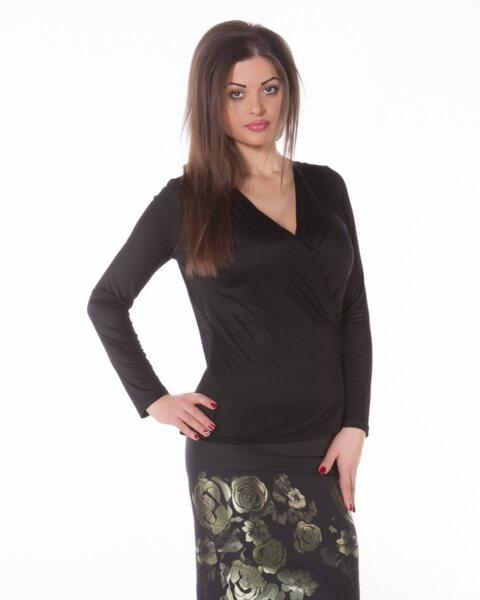 Черна дамска блуза с дантела (второ качество)