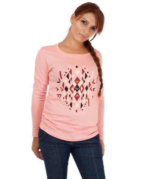 Розова дамска блуза с щампа (второ качество)