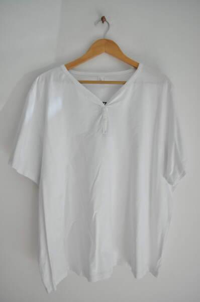 Дамска памучна блуза с V-образно деколте