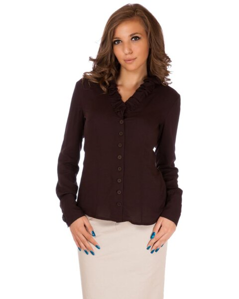 Кафява дамска риза с V-образна яка и къдрици (второ качество)