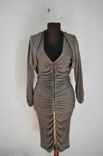 Дамска рокля с нежни свивки и болеро (второ качество)