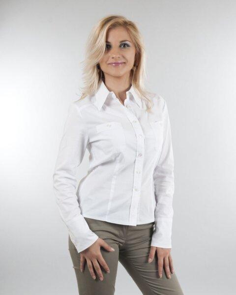 Дамска риза с джобове в бяло (второ качество)