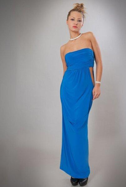 Дамска рокля в наситено синьо