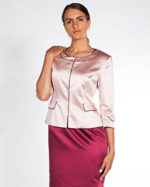 Сатенено дамско сако в розово (второ качество)
