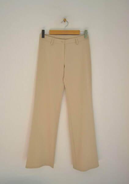 Дамски прав панталон в бежово (второ качество)