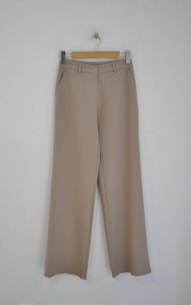 Дамски панталон с прав силует в цвят мляко с какао