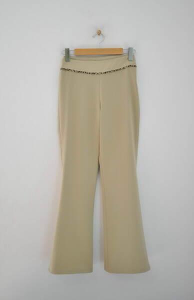 Дамски бежов панталон с паспел (второ качество)