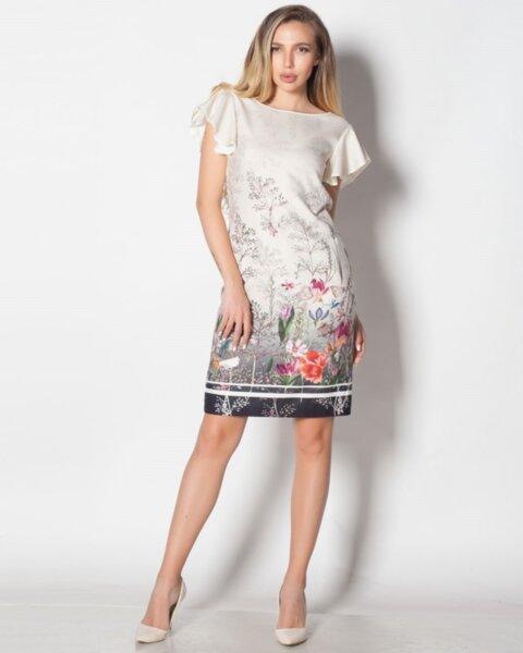 Monika - дамска рокля с полувтален силует и кокетен къс ръкав