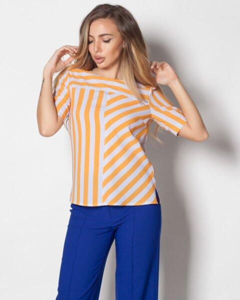 Kamelina - стилна дамска блуза от шифон с къс ръкав в цветно райе