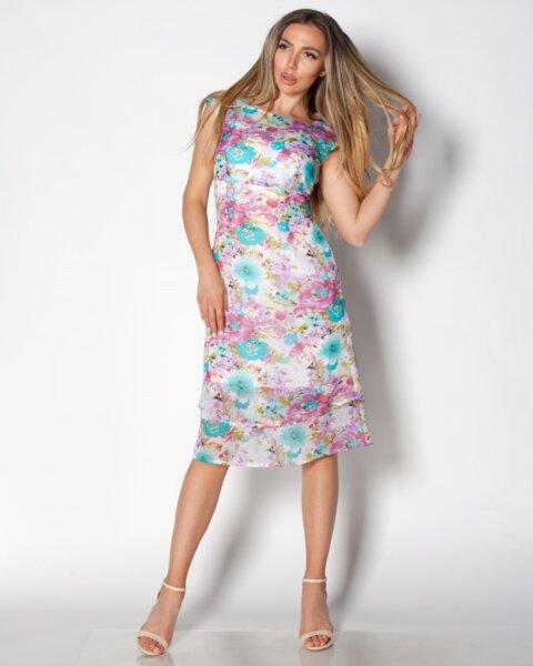 Titania - шифонена рокля с паднало рамо и разкроена долна част с волани
