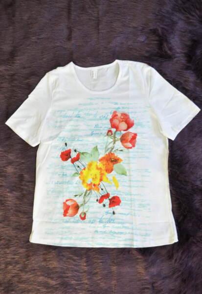 Памучна дамска блуза с принт на цветя в бяло