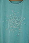 Дамска блуза с декоративни камъчета в зелен меланж