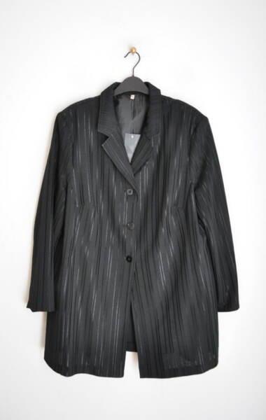 Дълго дамско сако на лъскави райета