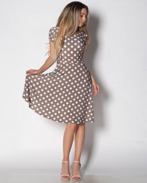 Siana - разкроена дамска рокля с къс ръкав на точки (второ качество)