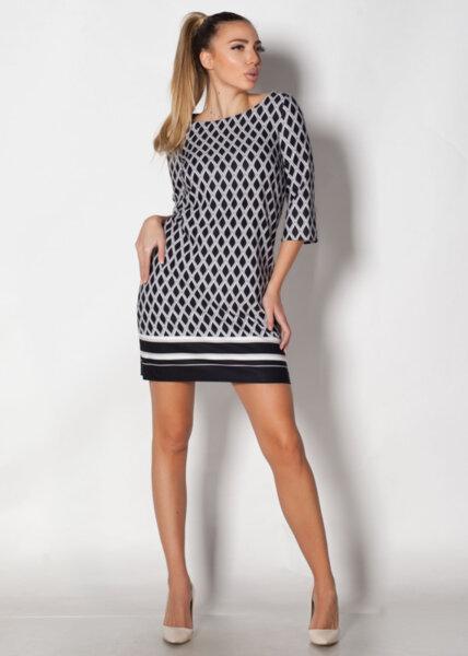 Права дамска рокля с геометрична принт (второ качество)