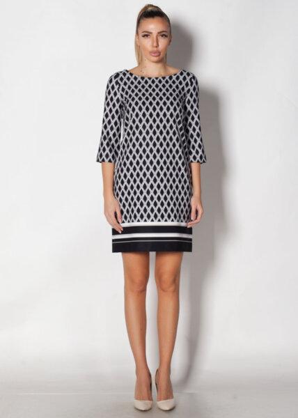Права дамска рокля с геометрична шарка (второ качество)