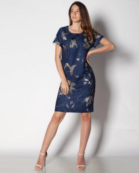 Дамска рокля в лек полувтален силует с прилеп ръкав (второ качесто)