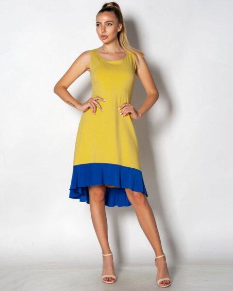 Jeronimo - трикотажна асиметрична рокля с волан по подгъва