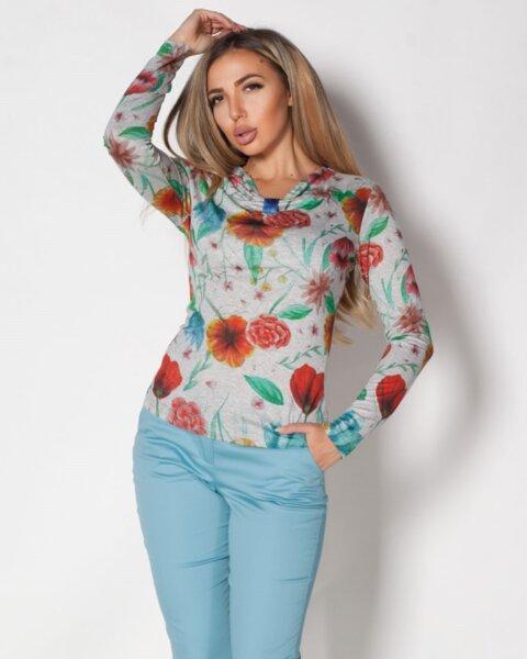 Vanesa - дамска блуза на цвята с интересно деколте