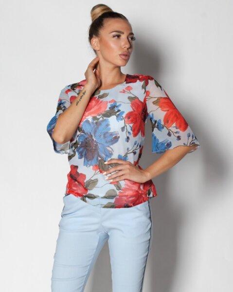 Sandra - дамска блуза от бледосин шифон на цветя  (второ качество)