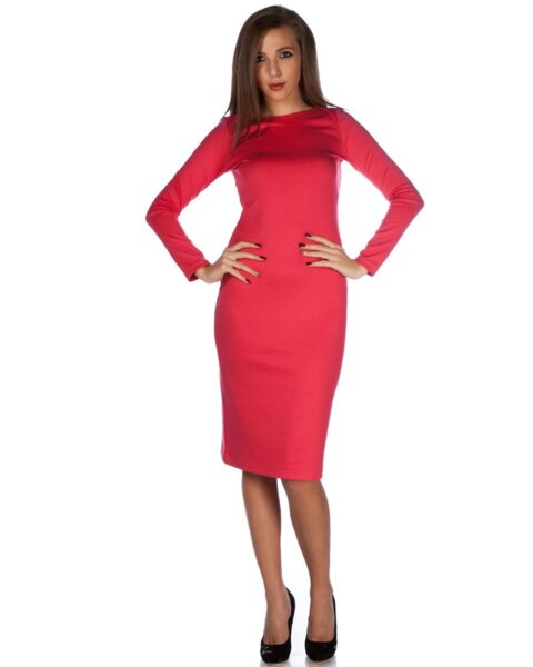 Вталена дамска рокля в цвят корал (второ качество)