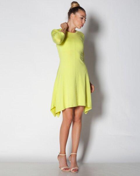 Alanis - разкроена дамска рокля с асиметричен подгъв (второ качество)