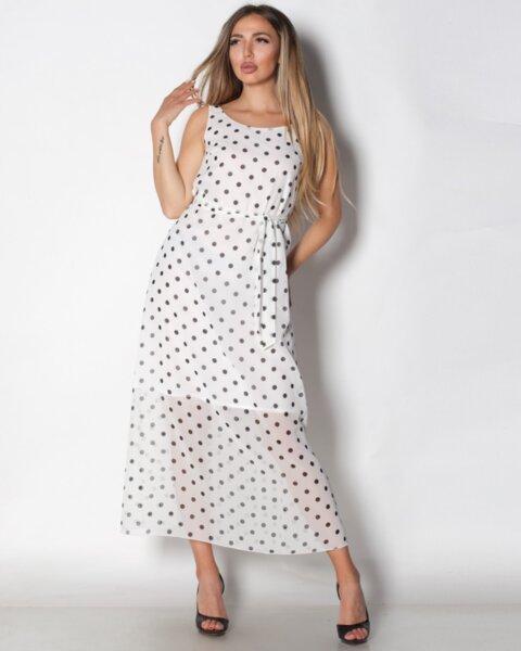 Persefona - дълга шифонена рокля на точки в лек свободен силует