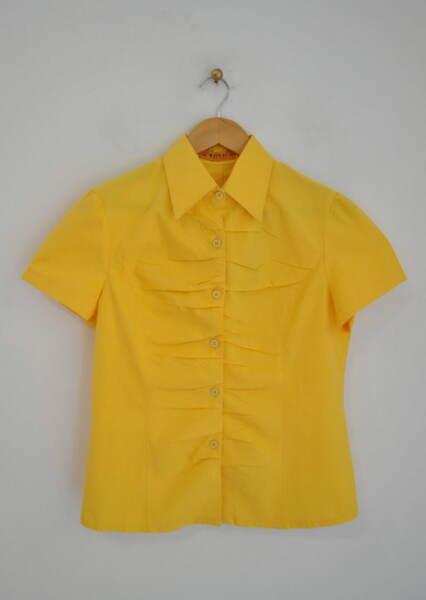 Дамска риза с чупки в жълто