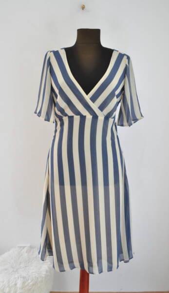 Дамска рокля на сини-бежови райета (второ качество)
