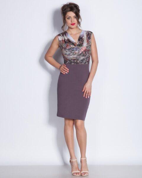 Дамска рокля в метално кафяво - Shona