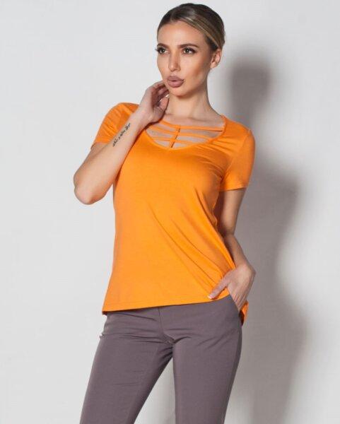 Fidelina - дамска блуза с къс ръкав и ефектно деколте