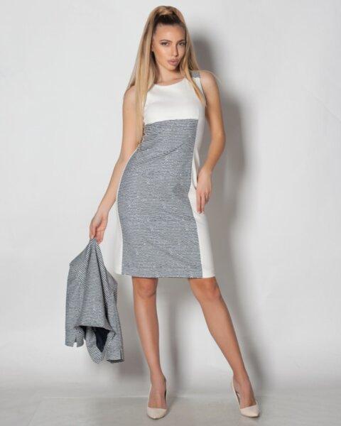 Sparta - стилна рокля с полувтален силует в двуцветна комбинация