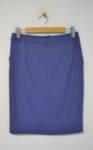 Дамска пола с външни джобове в син меланж