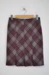 Дамска права пола с плохи на подгъва в червен-сив цвят