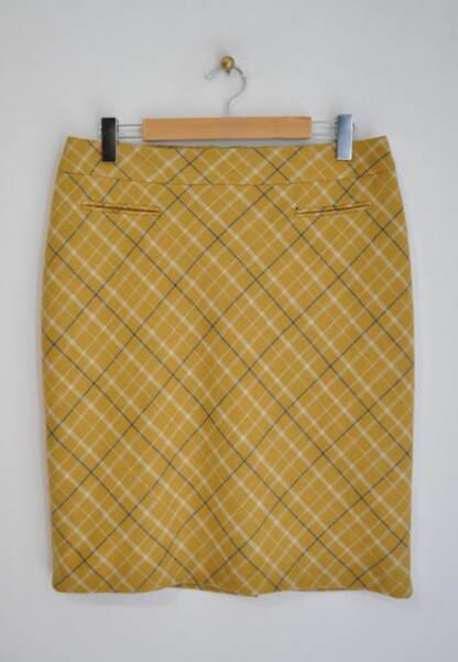 Дамска права пола с декоративни филетки в жълто