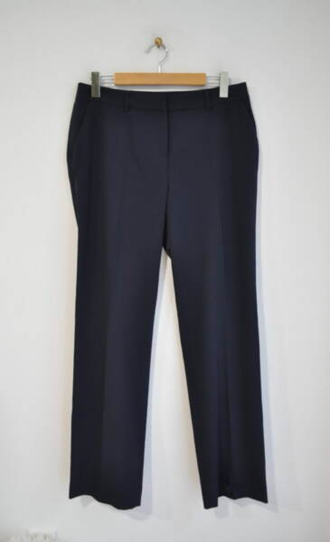 Тъмносин дамски панталон с прав силует (второ качество)