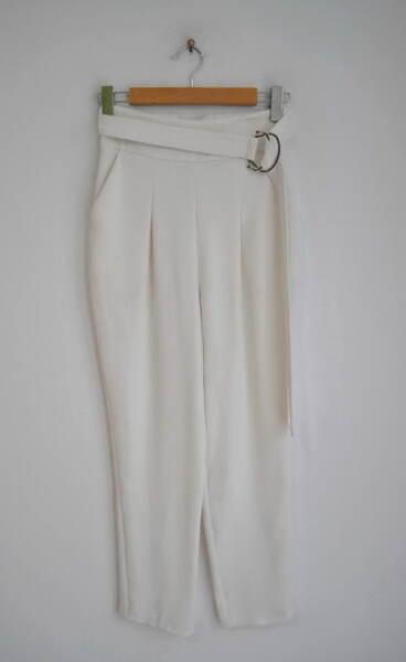 Дамски панталон с висока талия и колан с катарама (второ качество)